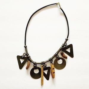 Vintage boho wood & metal wind chimes necklace